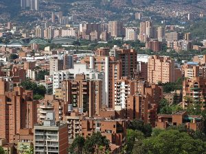 Ubiquitous brick high-rises in Medellin Colombia. Learn Spanish by watching Narcos, which takes place in Medellin.