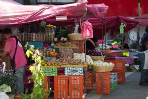 Market in La Condesa neighborhood of Mexico City. A good way to save on your cost of living in Mexico City is by utilizing all the markets around you.