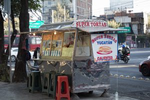 treet cart selling tortas in Mexcio City. Lower your cost of living and try some delicious street food.