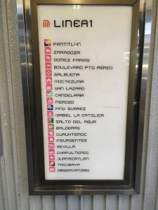 List of stations on the pink line found at Insurgentes station in the Mexico City Metro.