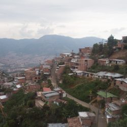 A view of the comunas in Medellin, Colombian as seen from the metrocable.