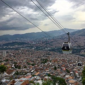A metrocable passes over the Santo Domingo barrio in Medellin, Colombia.