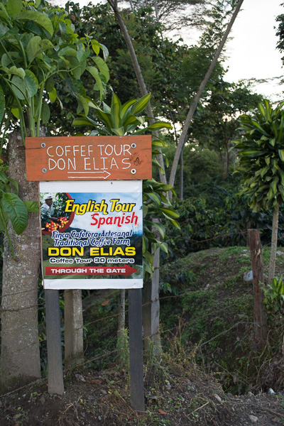 sign for Don Elias Coffee farm tour Salento, Colombia