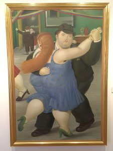 Dancing couple by Botero in Museo Botero in Bogota, Colombia