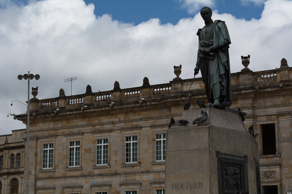 The statue of Simon Bolivar for which the plaza is named is seen in front of the building where Congress takes session
