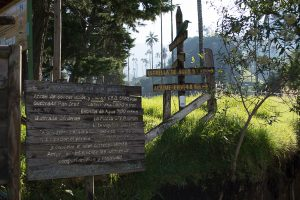 One of the entrance signs to Valle del Cocora in Salento, Colombia